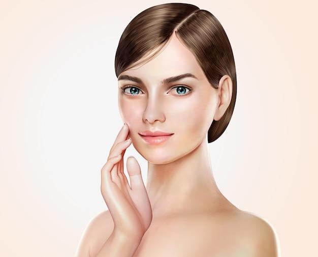 아름다운 여자 모델, 화장품 또는 의료 광고를위한 매력적인 짧은 머리 소녀