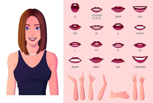 Beautiful woman mouth animation and lip sync creation pack. woman wearing blue dress premium.