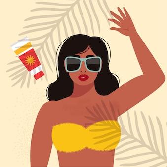 비키니와 선글라스에 아름 다운 여자 초상화. 복고 스타일의 그림