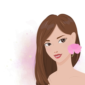 Beautiful woman portrait with pink hibiscus flower o