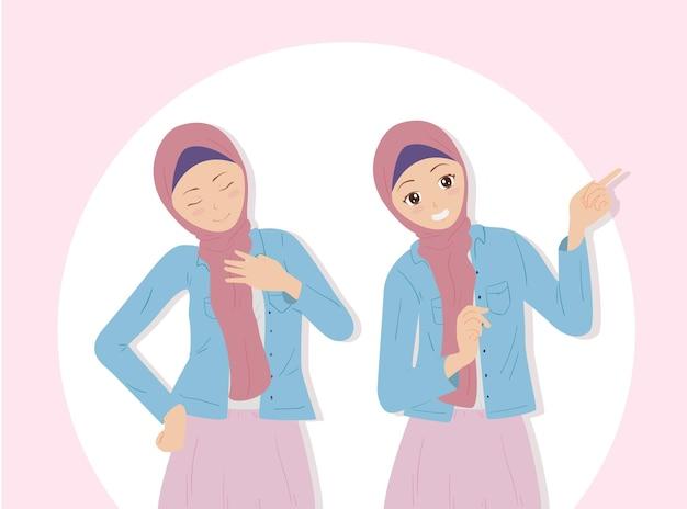 Hijab를 입고 포즈를 취하는 아름 다운 여자