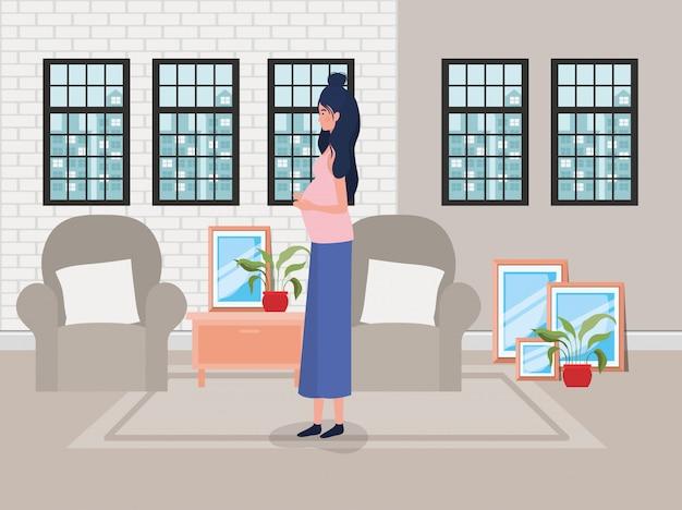 Beautiful woman pregnancy in the livingroom scene