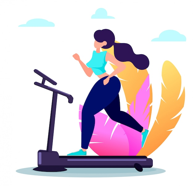 Beautiful woman running on treadmill