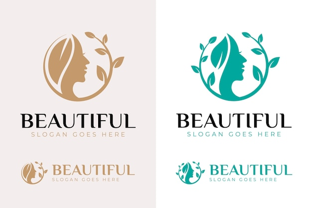 美しい女性の顔の花のロゴのコレクション。ビューティーサロン、マッサージ、雑誌、化粧品、スパの抽象的なデザインコンセプト