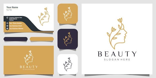 Beautiful woman's face flower star with line art style logo and business card design. abstract design concept for beauty salon, massage, magazine, cosmetic and spa.