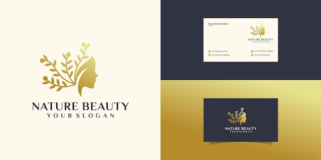 Beautiful woman's face flower star with line art style logo and business card design. abstract design concept for beauty salon, massage
