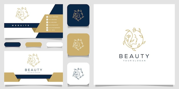 Beautiful woman's face flower star with line art style logo and business card design.