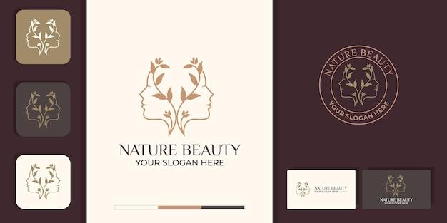 라인 아트 스타일 로고와 명함 디자인으로 아름 다운 여자의 얼굴 꽃. 추상적 인 디자인 컨셉