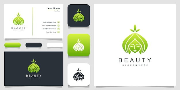 Beautiful woman's face logo and business card design
