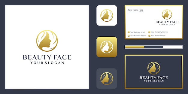 Beautiful woman's face luxury logo and business card design.