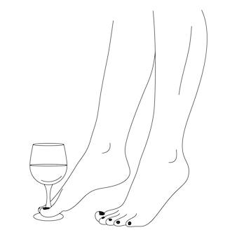Ноги и рюмки красивой женщины в модном минимальном линейном стиле. женское тело vector line art для плакатов, обложек, футболок, сообщений в социальных сетях, татуировок