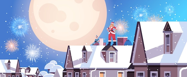 Beautiful woman in santa claus costume sitting on chimney girl using laptop happy new year merry christmas holiday celebration concept cityscape backgound full length horizontal vector illustration
