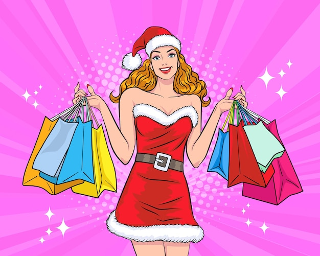 Beautiful woman santa claus with shopping bag  in retro vintage pop art comic style