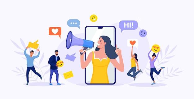 Красивая женщина кричит в мегафон и молодые люди, последователи окружают ее значками социальных сетей. влиятельный человек или блоггер на экране телефона. интернет-маркетинг, продвижение в социальных сетях, smm.
