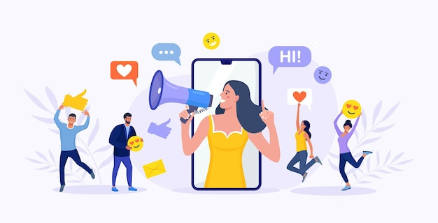 Beautiful woman shouting in megaphone and young people, followers surrounding her with social media icons. influencer or blogger on phone screen. internet marketing, social network promotion, smm.