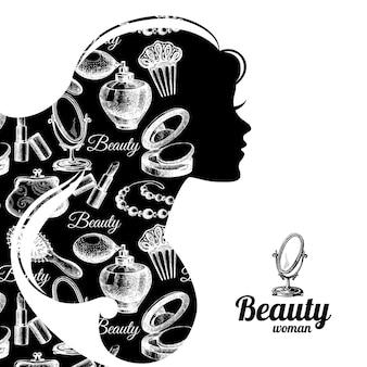 美しい女性のシルエット。化粧品セットパターン。ビューティーサロンのシンボル