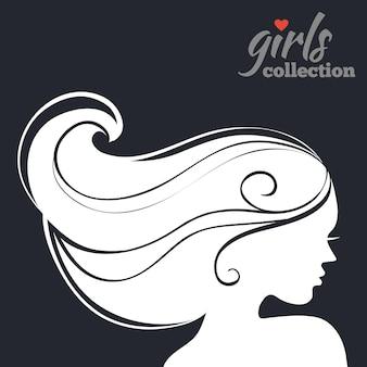 美しい女性のシルエット。ガールズコレクション