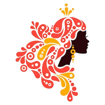 Beautiful woman silhouette. tattoo of abstract girl hair