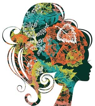 紅葉の美しい女性のシルエット
