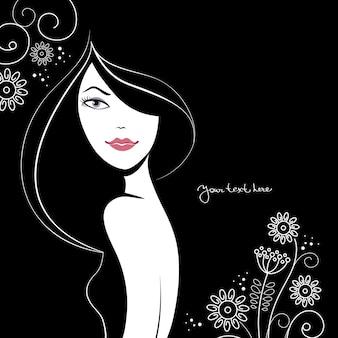 花と美しい女性のシルエット