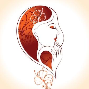 꽃과 함께 아름 다운 여자 실루엣