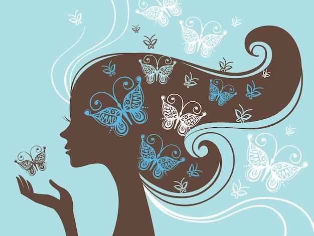 나비와 함께 아름 다운 여자 실루엣