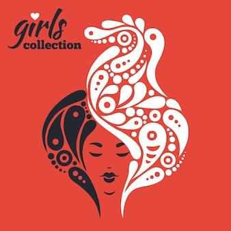 花と美しい女性のシルエット。ガールズコレクション
