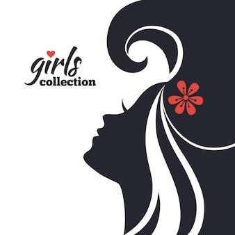 꽃과 함께 아름 다운 여자 실루엣입니다. 걸즈 컬렉션