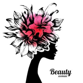 花と美しい女性のシルエット。手描きスケッチイラスト