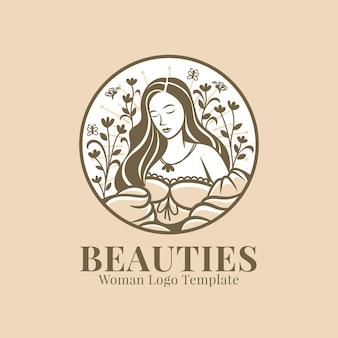 Красивая женщина сидит логотип шаблон
