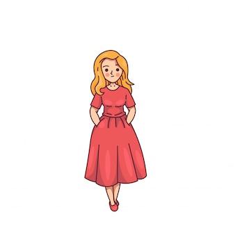 美しい女性の赤いドレスでかわいいポーズ笑顔
