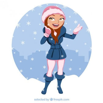 Beautiful woman under the snow Free Vector