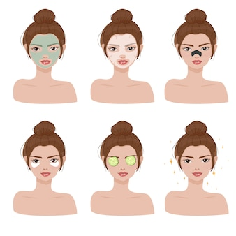Beautiful woman spa face collection
