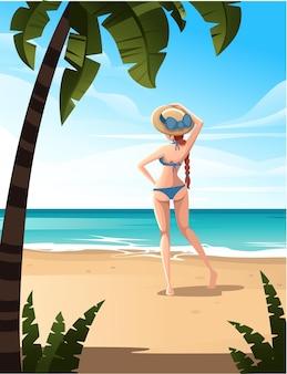 美しい女性がビーチに立つ海岸の熱帯の風景美しい海岸のビーチヤシの木や植物と良い晴れた日にフラットベクトルイラスト