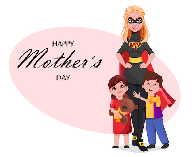 Beautiful woman in superhero costume with her kids