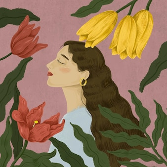 자연 그림에 둘러싸인 아름다운 여자