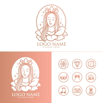 Красивая женщина векторный логотип и значок шаблона