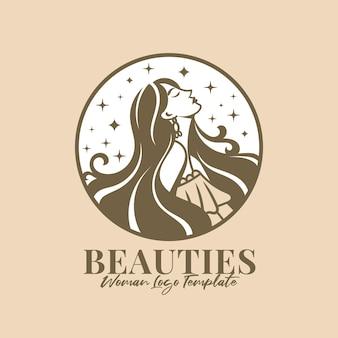 Красивая женщина векторный логотип шаблон