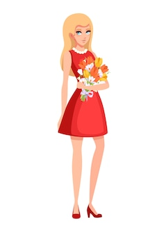 Beautiful woman wear red dress and hold a flower bouquet