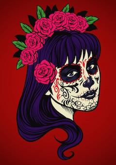 Beautiful woman wearing sugar skull make up