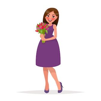 Красивая женщина с букетом цветов. в мультяшном стиле