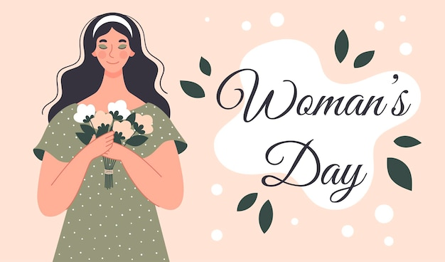 花の花束を持つ美しい女性。女性の日のポストカード。フラットスタイルのイラスト