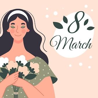 Красивая женщина с букетом цветов. открытка на женский день. иллюстрация в плоском стиле
