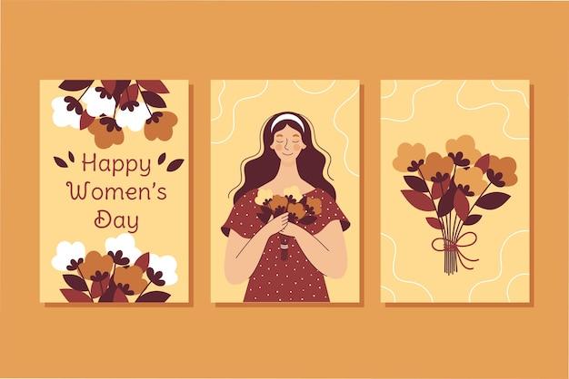 花の花束を持つ美しい女性。女性の日のポストカードのセット。図