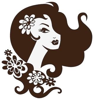 꽃과 함께 아름 다운 여자
