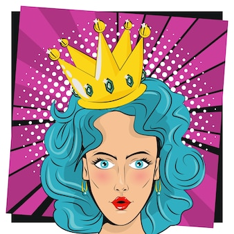 Beautiful woman with blue hair and queen crown pop art style.