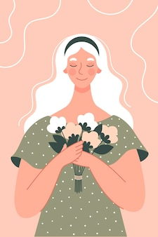 Beautiful woman with a bouquet of flowers. postcard for women's day. illustration in flat style