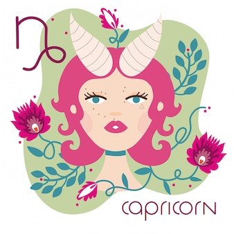 Beautiful woman with capricorn zodiac sign illustration