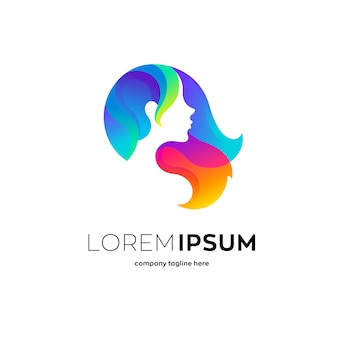 Beautiful woman with colorful hair, logo template