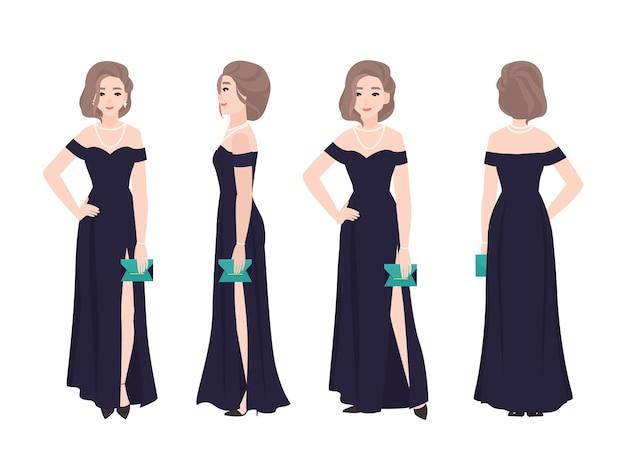 長いオフショルダーのイブニングドレスを着ているエレガントな髪型の美しい女性。